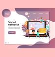 social networks website landing page design vector image