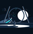 spacesuit astronaut in spaceship looking at moon vector image vector image