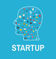 startup head concept with business icons startup vector image