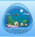 time to travel emblem template sea resort with vector image
