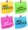 Under Construction Sticky Note vector image vector image