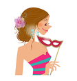 woman holding mask vector image