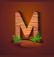 wooden letter m decorated with grass vector image vector image