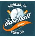 Bats behind baseball ball on shield t-shirt logo vector image
