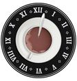 Cup of cocoa on big clock Coffee break Tea time vector image