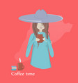a girl drinking coffee vector image vector image