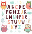 alphabet with cute owls for children educational vector image vector image