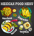 beautiful hand drawn set of mexican food vector image