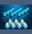 bitcoin mining process server farm blockchain vector image vector image