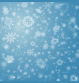 blue winter background with flay snowflakes vector image