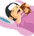 Cartoon of Little Girl Having A Fever vector image