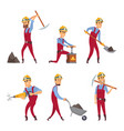 characters set of miners cartoon characters vector image
