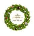 christmas wreath fur tree vector image