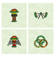 circus icons collection in hatching style vector image vector image