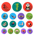 country japan flat icons in set collection for vector image vector image