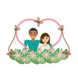 couple love heart flowers decoration vector image vector image
