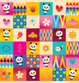 cute baby panda bears kids pattern vector image vector image