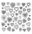 cute doodle hearts vector image