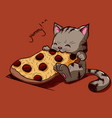 cute happy kitty eating a big slice pizza vector image vector image