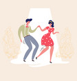 dancing couple rockabilly dance swing dancers vector image vector image