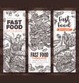 fast food monochrome vertical banners vector image vector image