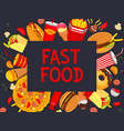 fastfood meaks and snacks poster menu vector image vector image