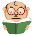funny human emoji reading a green book on white vector image vector image