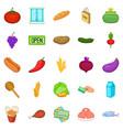gastronomy shop icons set cartoon style vector image