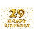 golden number 29 twenty nine metallic balloon vector image vector image