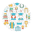 Graduation Thin Line Icons vector image vector image