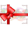 greeting card with a red bow vector image