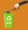 hand pick glass bottle waste and colorful recycle vector image vector image