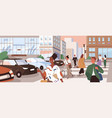 horizontal cityscape with people crossing road vector image