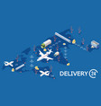 isometric global logistic concept delivery vector image
