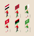 isometric people with flags of middle east vector image vector image
