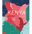 kenya country detailed editable map vector image vector image