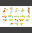 kids playing with water pistols and assortment of vector image