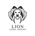 lion logo black and white design element for vector image vector image