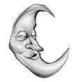 moon with face engraving colorful vector image