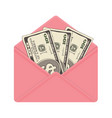 one hundred dollar banknotes in open pink envelope vector image vector image