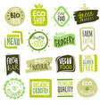 organic food labels natural meal and fresh vector image