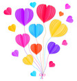 paper hearts on white background vector image