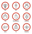 Pest and insect control linear icons set vector image