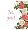 postcard coral roses hand drawing vector image vector image