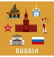 Russian flat travel icons and symbols vector image