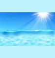 sea and blue sky with sun and lens flare vector image