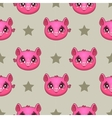 Seamless pattern with funny pig faces vector image