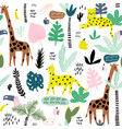 seamless pattern with giraffe leopardtucan vector image vector image