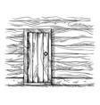 sketch hand drawn old rectangular wooden door in vector image