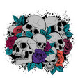 skull and flowers butterflies vector image vector image
